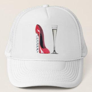 Champagne Flute Glass and Corkscrew Stiletto Shoe Trucker Hat