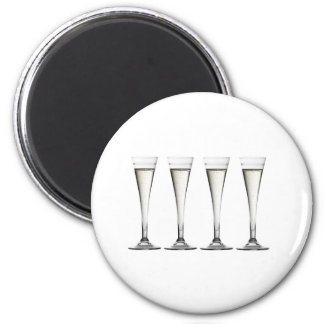 Champagne Flutes 6 Cm Round Magnet