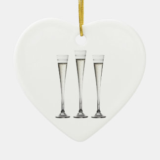 Champagne Flutes Ceramic Heart Decoration
