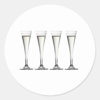 Champagne Flutes Classic Round Sticker