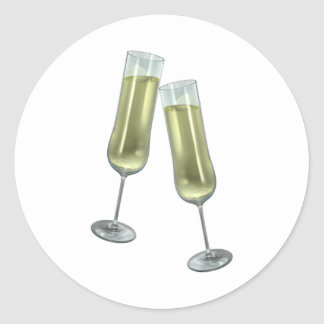 Champagne flutes couple classic round sticker