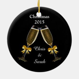 Champagne Flutes on Black Round Ceramic Decoration