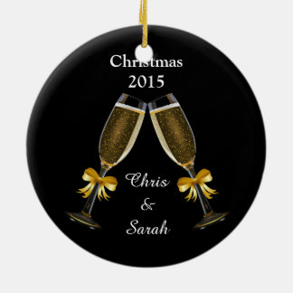 Champagne Flutes on Black Round Ceramic Decoration