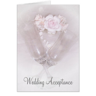 Champagne Flutes Roses Wedding Acceptance Note Card