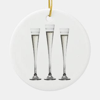 Champagne Flutes Round Ceramic Decoration