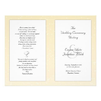 Champagne Folded Christian Wedding Program 21.5 Cm X 28 Cm Flyer