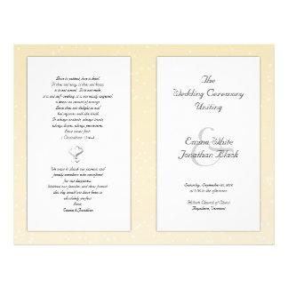 Champagne Folded Christian Wedding Program Flyer