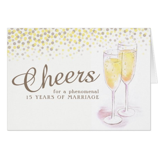 Champagne glass 15th wedding anniversary art card