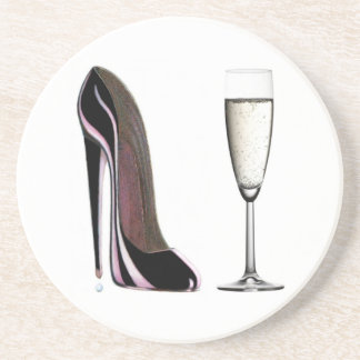 Champagne glass and black stiletto shoe Coaster