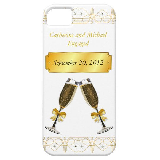 Champagne Glass Gold Wedding or Engagement Date Barely There iPhone 5 Case