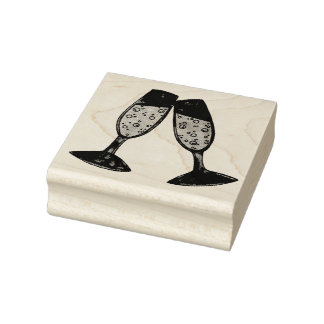 Champagne Glass Toast Bubbles Cheers Wedding Rubber Stamp