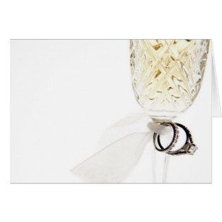Champagne Glass Wedding Rings Card