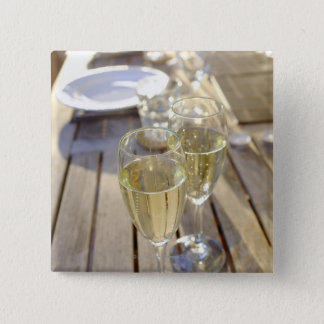 Champagne glasses 15 cm square badge