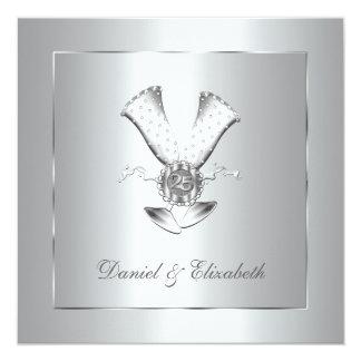 Champagne Glasses 25th Wedding Anniversary 13 Cm X 13 Cm Square Invitation Card