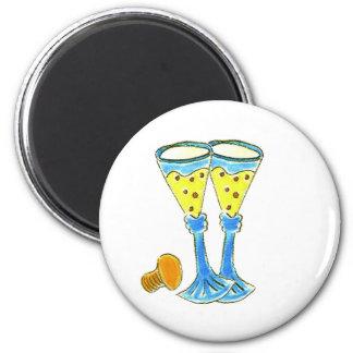 Champagne Glasses 6 Cm Round Magnet