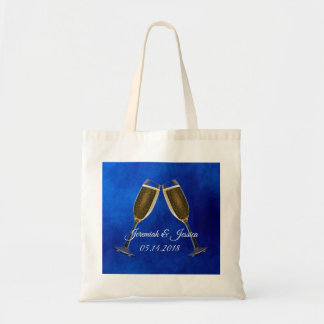 Champagne Glasses and Blue Background Tote Bag