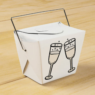 Champagne Glasses Black And White Wedding Party Favour Box