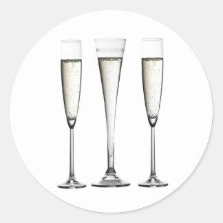 Champagne Glasses Classic Round Sticker