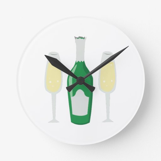 Champagne Glasses Round Wall Clock