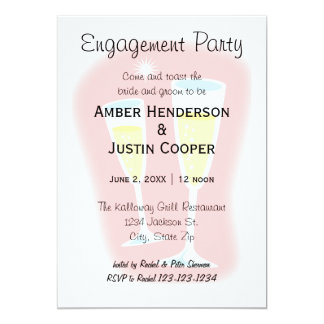 Champagne Glasses - Engagement Party Card