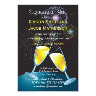 Champagne Glasses Fireworks - 3x5 Engagement Party 9 Cm X 13 Cm Invitation Card
