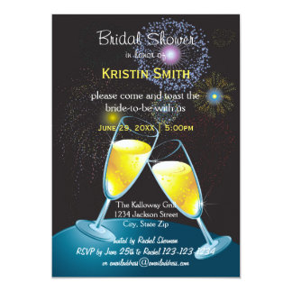 Champagne Glasses Fireworks - Bridal Shower Card