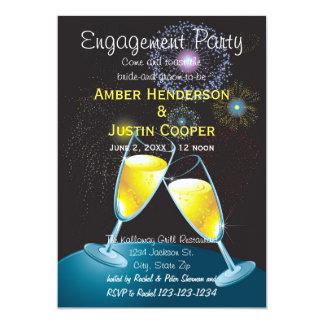 Champagne Glasses & Fireworks - Engagement Party 13 Cm X 18 Cm Invitation Card