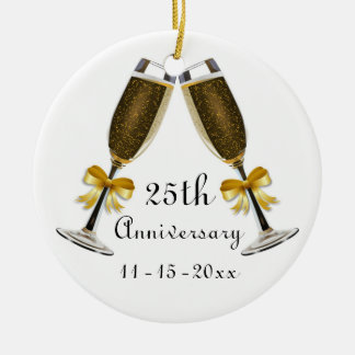Champagne Glasses Gold Bow Anniversary Custom Year Christmas Ornament