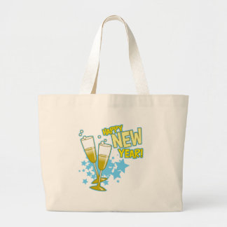 Champagne Glasses Happy New Year Large Tote Bag