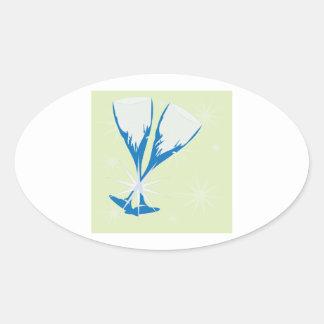 Champagne Glasses Oval Sticker