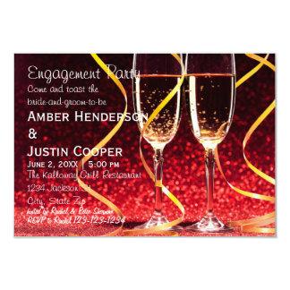 Champagne Glasses Photo - Engagement Party 9 Cm X 13 Cm Invitation Card