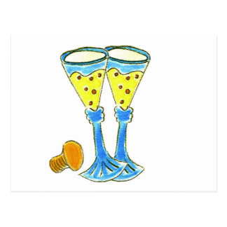 Champagne Glasses Post Card