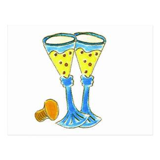 Champagne Glasses Postcard