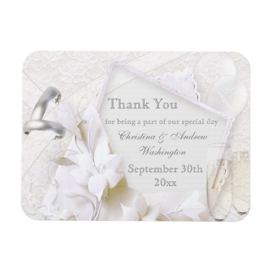 Champagne Glasses & Rings Thank You Wedding Favour Rectangular Photo Magnet