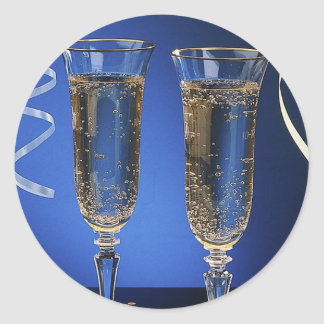 Champagne Glasses Round Sticker