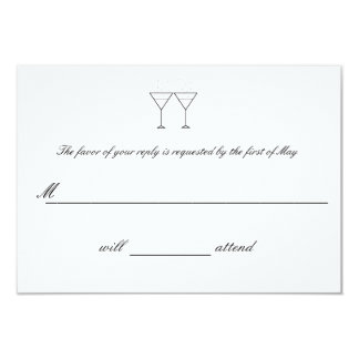"""Champagne Glasses"" RSVP Cards 9 Cm X 13 Cm Invitation Card"