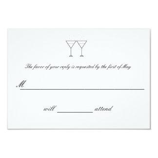 """Champagne Glasses"" RSVP Cards 9 Cm X 13 Cm Invitation Card"