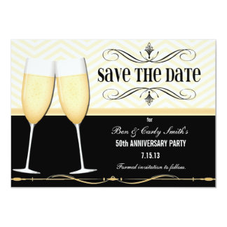 Champagne Glasses Save the Date Invitation