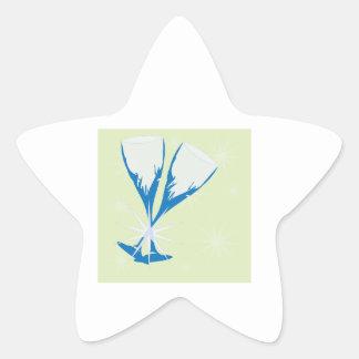Champagne Glasses Star Sticker
