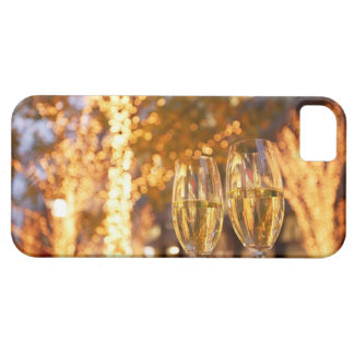 Champagne glasses toasting Christmas on city iPhone 5 Case