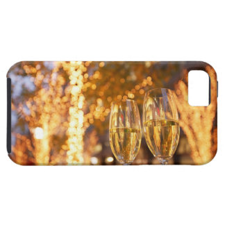 Champagne glasses toasting Christmas on city iPhone 5 Covers