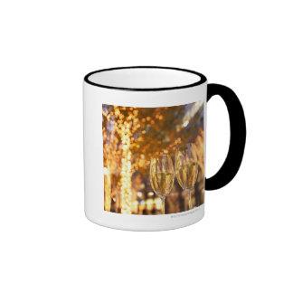 Champagne glasses toasting Christmas on city Coffee Mug