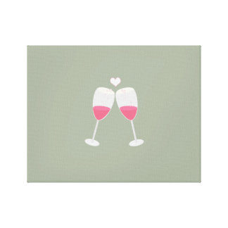 champagne glasses with heart canvas print