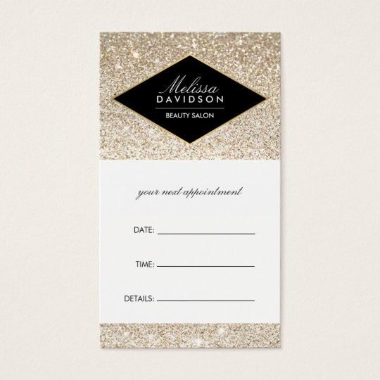 Champagne Gold Glitter and Glamour Appointment Business Card