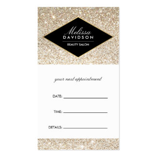 Champagne Gold Glitter and Glamour Appointment Pack Of Standard Business Cards