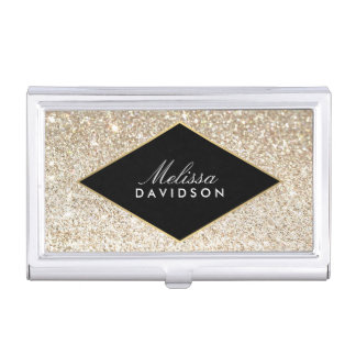 Champagne Gold Glitter and Glamour Business Card Holder