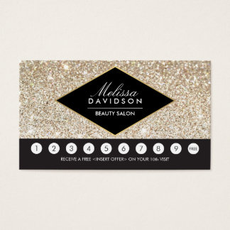 Champagne Gold Glitter and Glamour Loyalty Card