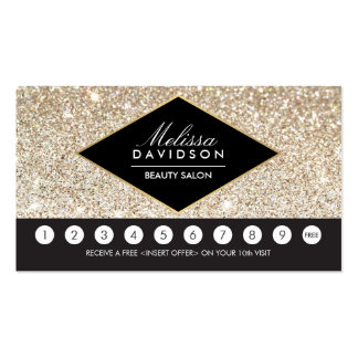 Champagne Gold Glitter and Glamour Loyalty Card Pack Of Standard Business Cards