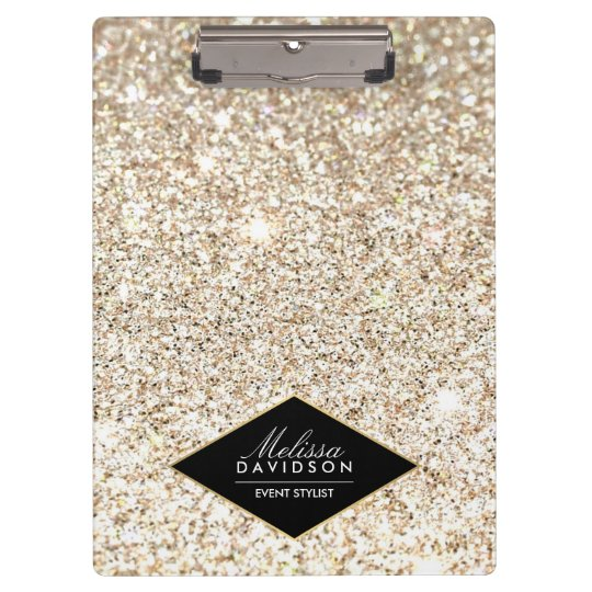 Champagne Gold Glitter and Glamour Personalised Clipboard