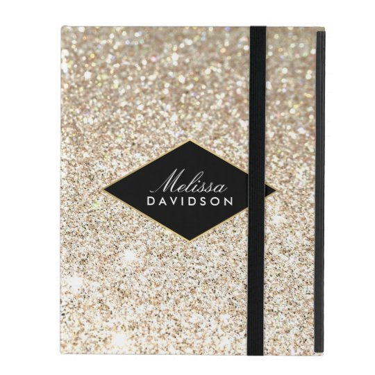 Champagne Gold Glitter and Glamour Personalised iPad Cover